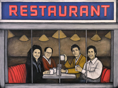 A painting of the cast of Seinfeld