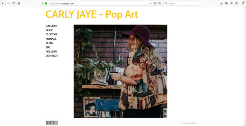 The front page of Carly Jaye's art website