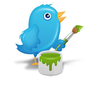 illustration of Twitter bird with paint brush
