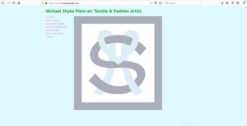 The front page of Michael Shyka's art portfolio website