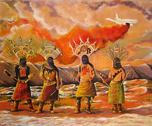 An acrylic painting of four figures in surreal/traditional dress