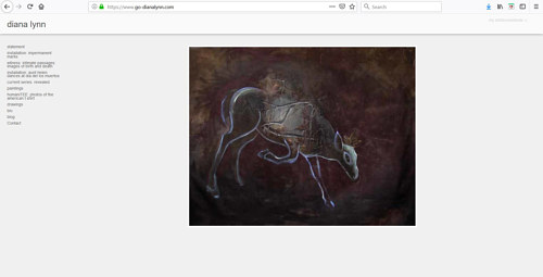 A screen capture of Diana Lynn's art portfolio website