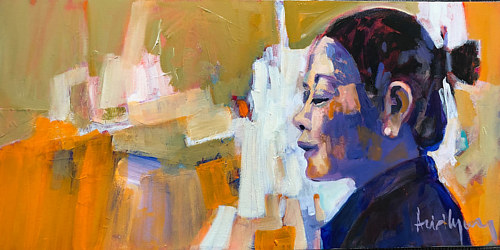 A painting of a woman on an abstracted orange background