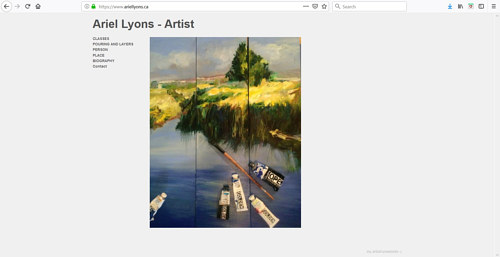The front page of Ariel Lyons' art portfolio website