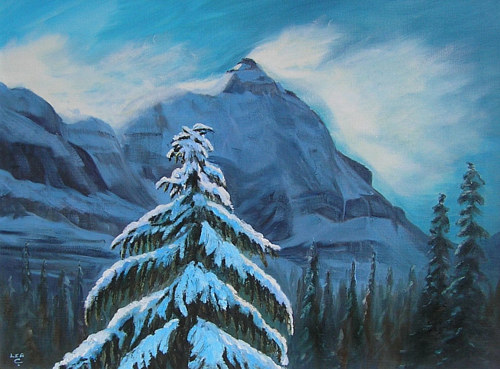 A painting of a mountain range with a snowy tree in the foreground