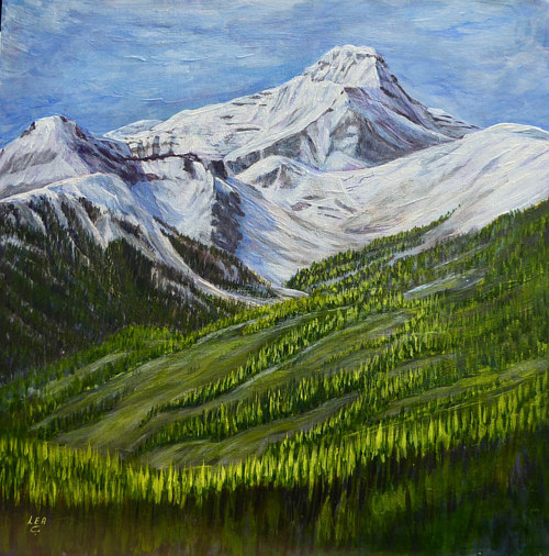A painting of a mountain range with green grass in the foreground