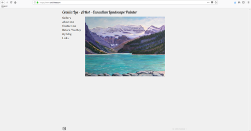 A screen capture of Cecilia Lea's art portfolio website