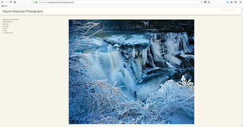 The front page of Wayne Mazorow's photography portfolio website