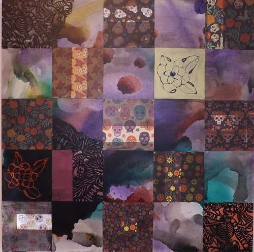 A mixed media artwork made in a quilt-like pattern with distinct square sections
