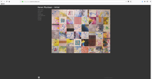 The front page of Karen Muntean's art portfolio website