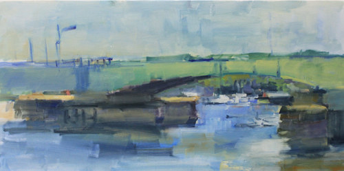 A gestural painting of a bridge over a river