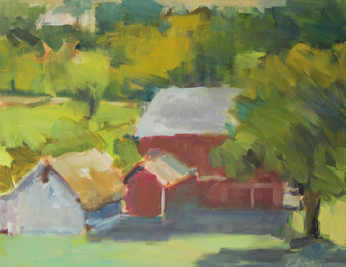 An impressionistic painting of a barn surrounded by greenery