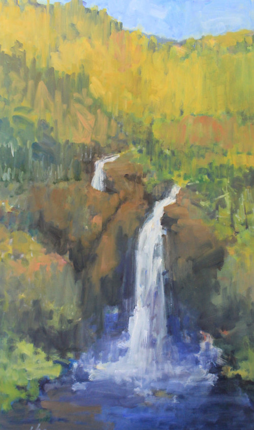 A painting of a waterfall running through autumnal wilderness