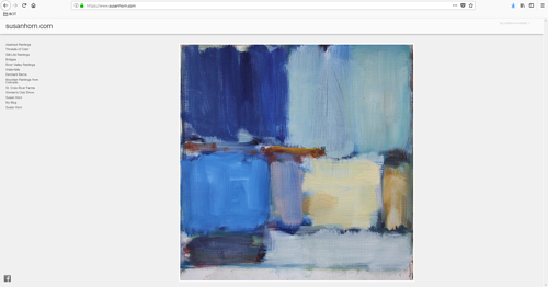 A screen capture of Susan Horn's art portfolio website