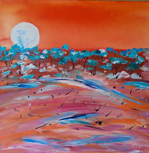 A painting of the moon rising over the outback