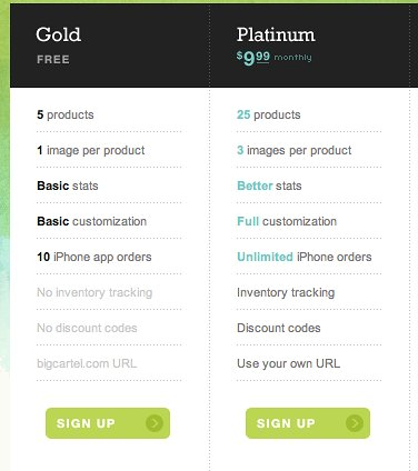 Gold and Platinum sign up