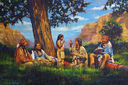 A painting of a family of Native American people in the American old west