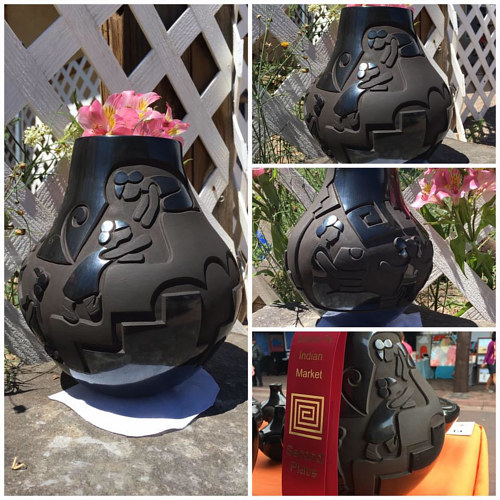A collage image set of a pot displayed outdoors with flowers
