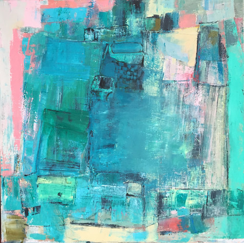 An abstract painting made using bright blue tones