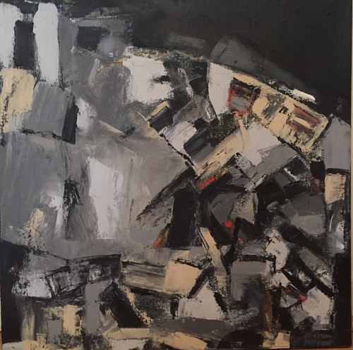 An abstract painting made with blocks in dark neutral tones