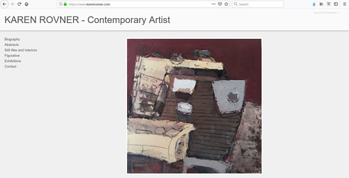 A screen capture of Karen Rovner's art portfolio website