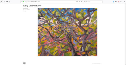 The front page of Kelly Leichert's art portfolio website