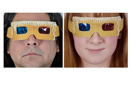 A diptych image of two faces wearing 3-D glasses