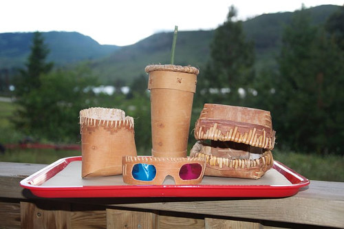 A photo of a fast food meal sculpted using traditional Secwepemc basket weaving techniques