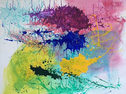 An abstract painting made with splashes of paint