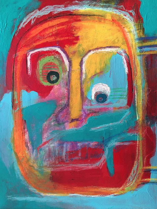 An abstracted artwork depicting a face in bright colours