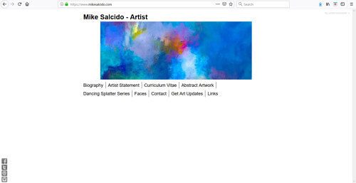 A screen capture of the front page of Mike Salcido's art website