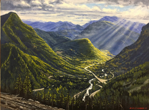 A painting of a mountainous section of the Coquihalla highway