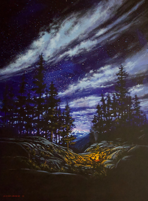 A painting of a campfire in the mountains at night