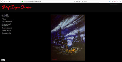 The front page of Bryan Coombes' painting portfolio website