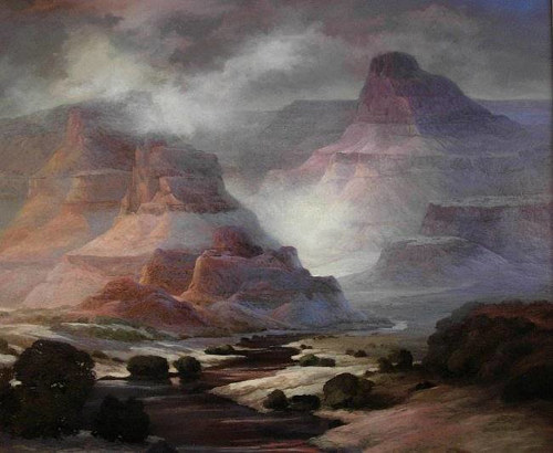 A painting of a hazy, mountainous landscape