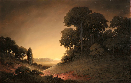A painting of a forested field under an orange sky