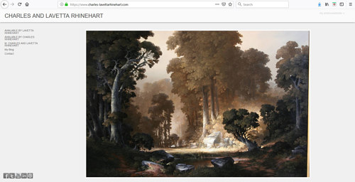 The front page of Charles and Lavetta Rhinehart's art portfolio page