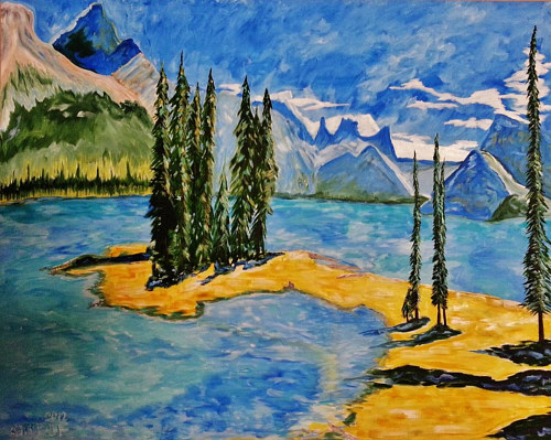 A painting of a treed peninsula in a lake