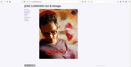 A screen capture of Jose Londono's art portfolio website