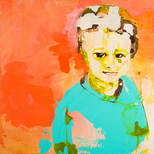 A painting of a childlike figure on a bright orange background