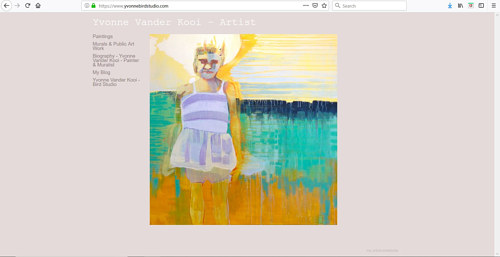 The front page of Yvonne Vander Kooi's art portfolio website