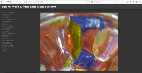 A screen capture of Len Millward's art portfolio website