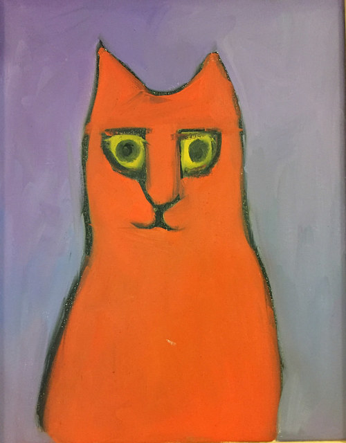 An oil painting of an orange cat