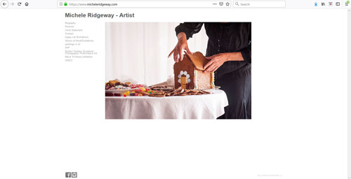 The front page of Michele Ridgeway's art portfolio website