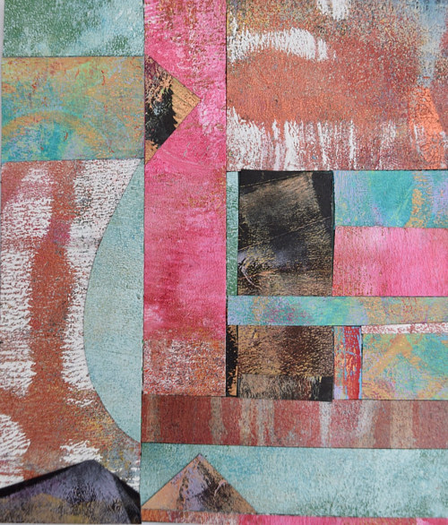 A collaged artwork with textured and coloured pieces of paper