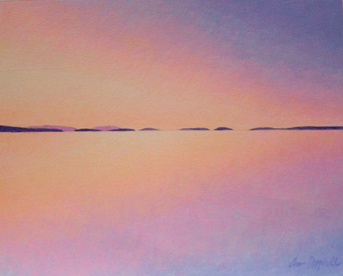 A small acrylic painting of a horizon line at sunset