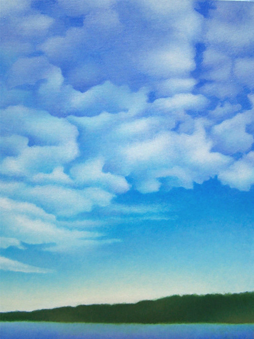 A painting of a cloudy sky over a tropical island