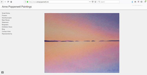 A screen capture of Anne Popperwell's art portfolio website