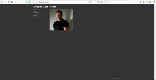The front page of Douglas Zest's art portfolio website