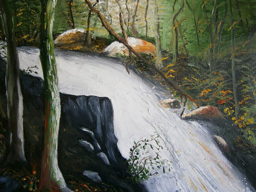 An oil painting of a rushing river